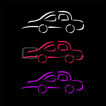 Car with abstract lines logo design concept