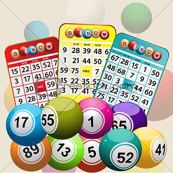 Three Bingo Cards and Bingo Balls background