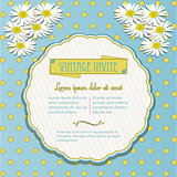 Vintage invite with chamomile flowers
