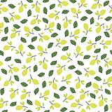 Seamless pattern with lemons on the white background