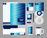 Striped blue corporate identity template