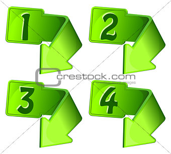 Green icon with arrow and numerals