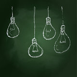 Hand drawn chalk style illustration of light bulb