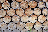 Wall made of stacked wood, Background