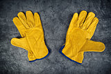 Pair of Yellow Leather Construction Work Gloves
