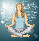 Vector woman meditating in lotus pose