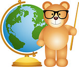 Teddy bear teacher with globe