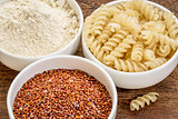 quinoa grain, flour and pasta