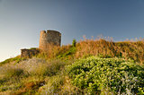 Ruins of the ancient tower at seaside Nessebar, Bulgaria
