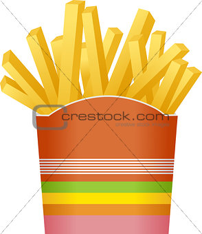 French fries in striped packaging