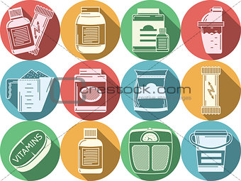 Flat colored vector icons for sports nutrition