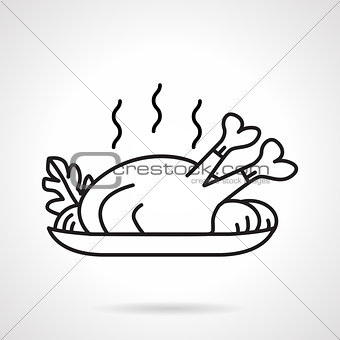 Black line vector icon for baked chicken