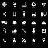 Network icons with reflect on black background