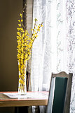 Spring yellow flowers in vase on a table near the window