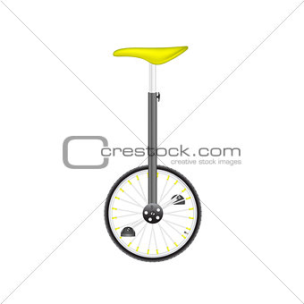 Circus bike in black and silver design with yellow seat