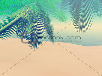 3D beach scene with palm trees with vintage effect