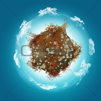 3D globe with rocks and grass on cloudy background