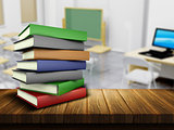 Wooden table and books with defocussed classroom image