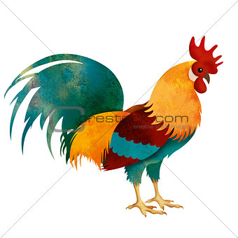 painted Rooster isolated on white with clipping path