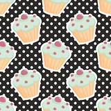 Tile vector pattern with cupcakes and polka dots on black background