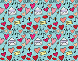Seamless vector pattern of loving hearts