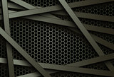 Black bars over dark honeycomb structure. Abstract technology background