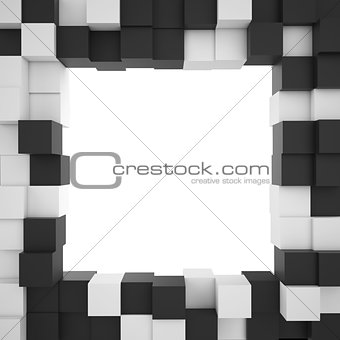 Background of white and black cubes