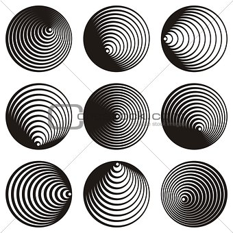 Circle spiral design elements