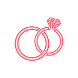 Red vector stylized wedding rings