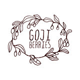 Goji berries hand-sketched typographic element