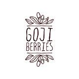 Goji berries hand-sketched typographic element