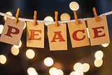 Peace Concept Clipped Cards and Lights