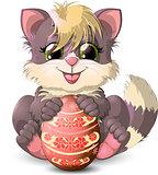 Kitten and easter egg