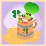 Leprechaun in a mug of beer St. Patrick day