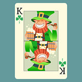 Playing card king green leprechaun St. Patrick day