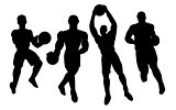 Set of basketball players silhouette