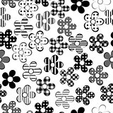 Black and white patterned flowers seamless