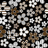 Seamless with patterned flowers over black background