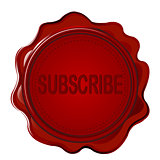 Wax seal with word SUBSCRIBE