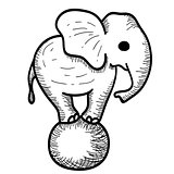 Cute Cartoon Elephant Standing on a Ball