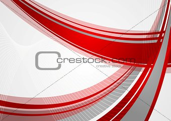 Abstract bright red waves vector background