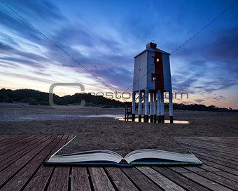 Beautiful landscape sunrise stilt lighthouse on beach conceptual