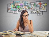Girl studying academic subjects