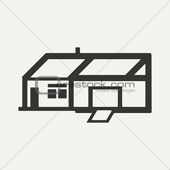 Flat in black and white mobile application house