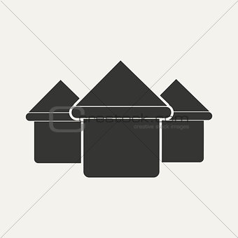 Flat in black and white mobile application houses