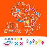 Papercut style travel map of Africa with pins vector illustration
