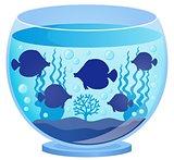 Aquarium with fish silhouettes 1