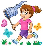 Girl chasing butterflies theme image 1