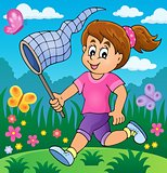Girl chasing butterflies theme image 2