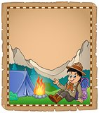 Parchment with scout boy in mountain